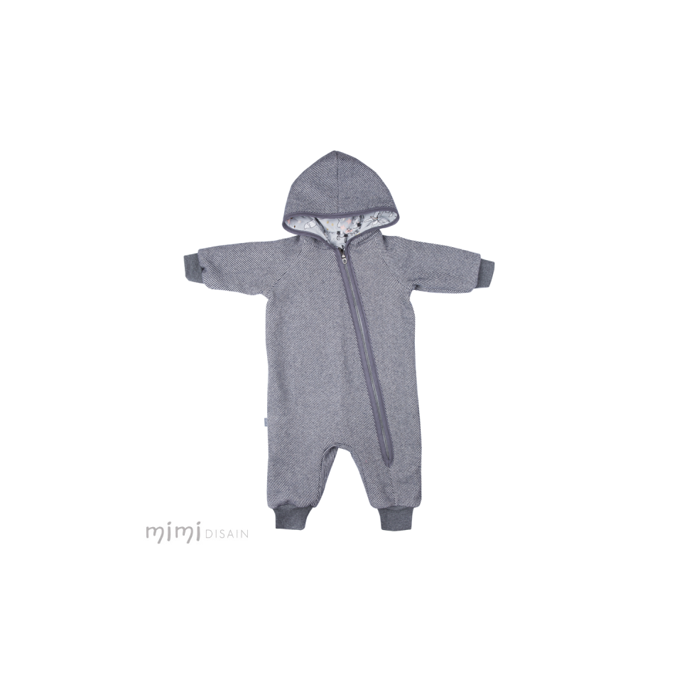 Mimi Wool Jumpsuit Grey Stripe
