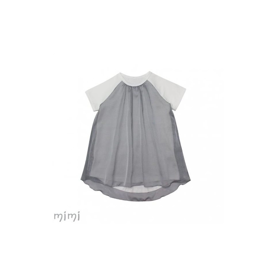 Dress LAURA Grey/White